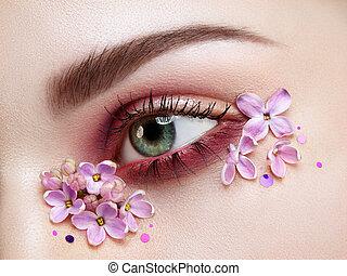 maquillage, fleurs, oeil femme, lilas