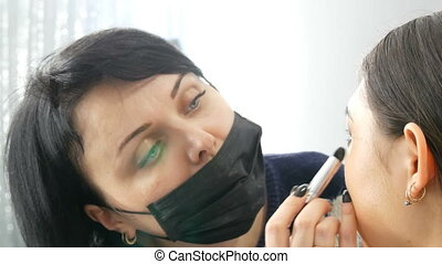 maquillage, girl, femme, brosse, maquillage, marques,...