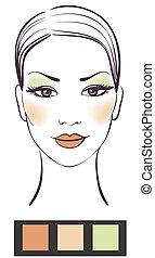 maquillage, girl, figure, beauté