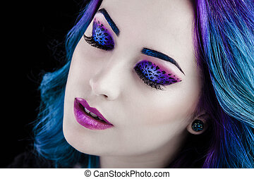 maquillage, girl, grand plan, joli, léopard