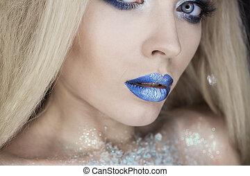 maquillage, girl, makeup., beauté, hiver, woman., noël