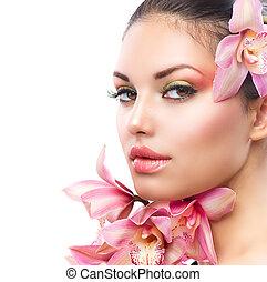 maquillage, girl, parfait, flowers., orchidée, beau