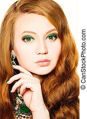 maquillage, hair., girl, mannequin, portrait., femme, rouges, beauté