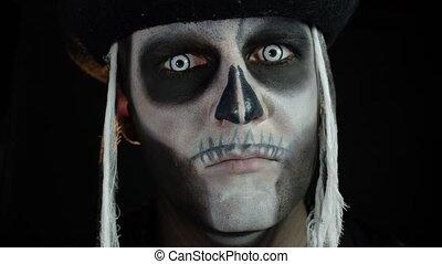 maquillage, homme, ouverture, sien, yeux, contre, fond, noir...