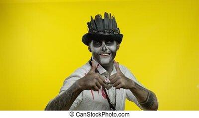 maquillage, homme, regarder, showning, squelette, effrayant...