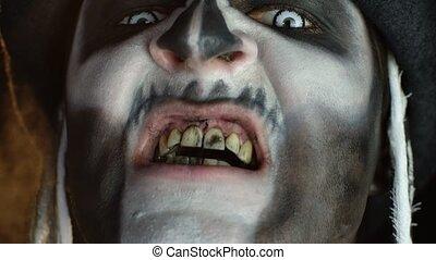 maquillage, homme, sale, langue, dents, figure, gros plan, ...