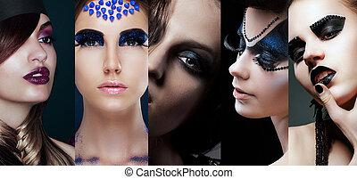 maquillage, inhabituel, collage., beauté, femmes