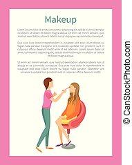 maquillage, mode, stylist, plakat, forarbejde, makeup