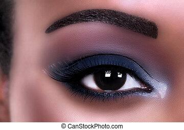 maquillage, oeil, africaine