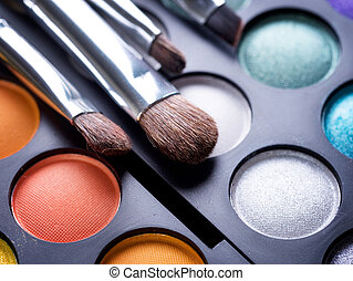 maquillage, ombres, maquillage, oeil, brosses