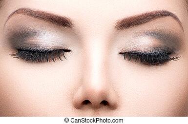 maquillage, parfait, cils, long, yeux, peau, closeup., ...