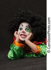 maquillage, peu, clown, garçon, africaine