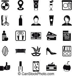 maquillage, sæt, firmanavnet, enkle ikoner
