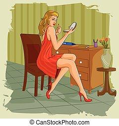 maquillaje, aliño, retro, tabla, infront, mujer