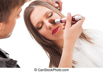 maquillaje, applying.