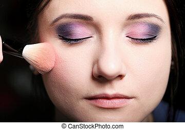 maquillaje, cara, ser aplicable, colorete, blusher