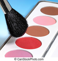 maquillaje, colores, y, cepillo