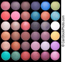 maquillaje, colorido, eyeshadow, paletas, aislado, en, fondo negro
