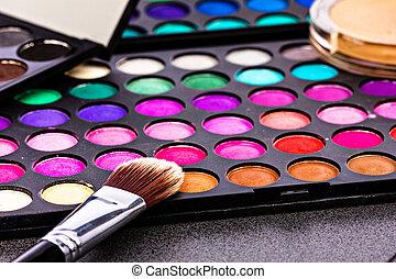 maquillaje, colorido, eyeshadow, paletas, con, pincel de...
