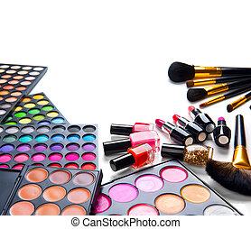 maquillaje, conjunto, paletas, con, colorido, eyeshadows.,...