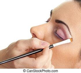 maquillaje, contorno, el, ojos, rutina