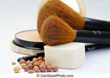 maquillaje, fundación, polvo, bronzer, y, cepillos