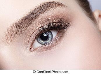 maquillaje, hembra, frentes, día, ojo, zona