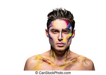 maquillaje, hombre, joven, art.