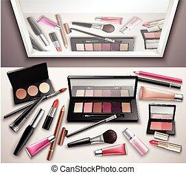 maquillaje, imagen, realista, vista, cima, espacio de trabajo