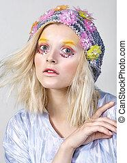 maquillaje, joven, brillante, colorfull, niña, sombrero