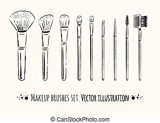 maquillaje, kit., cepillos