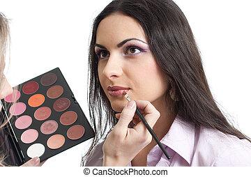maquillaje, labios, ser aplicable