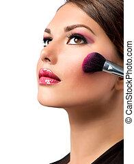 maquillaje, makeup., blusher, applying., rouge.