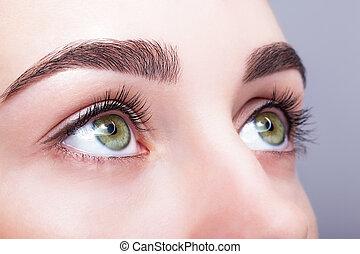 maquillaje, ojo, hembra, frentes, zona, día
