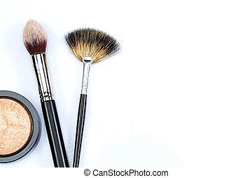 maquillaje, polvo, y, cepillos, blanco, plano de fondo