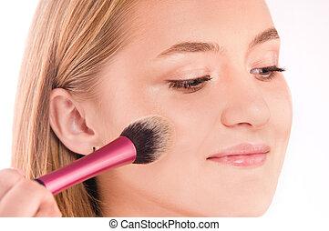 maquillaje, proceso, de, un, joven, niña bonita