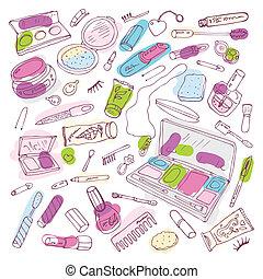 maquillaje, productos, belleza