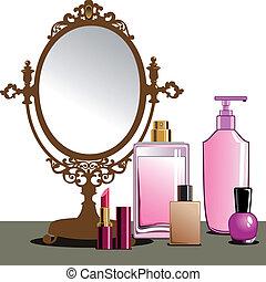 maquillaje, y, espejo