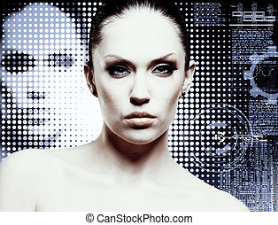 maquillaje, y, glamour., joven, atractivo, mujer, estudio, portrait.