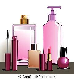 maquillaje, y, productos de la belleza