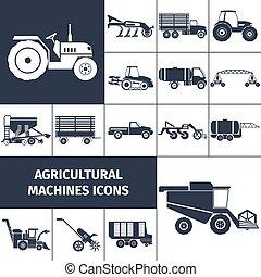 maquinaria agrícola, pretas, branca, ícones, jogo
