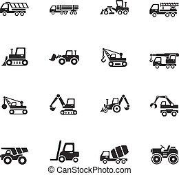 maquinaria construção, ícone, jogo