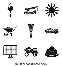 maquinaria construção, ícones, jogo, simples, estilo