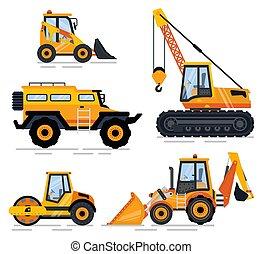 maquinaria construção, equipamento, transporte