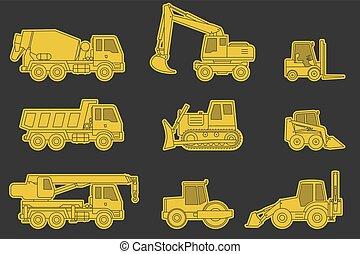 maquinaria construção, icons.