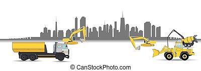 maquinaria construcción, en, el, city., vector, illustration.