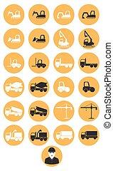 maquinaria construcción, iconos