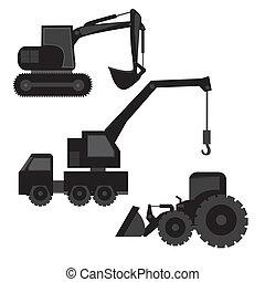 maquinaria construcción, silhouetted
