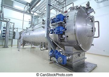 maquinaria, en, un, farmacéutico, producción, planta