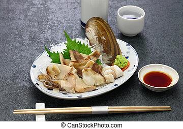 maquinilla de afeitar, almeja, pacífico, sashimi